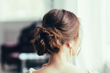 Beautiful Young Bride With Wedding Makeup And Hairstyle. Happy Bride Waiting Groom. Bride Portrait Soft Focus