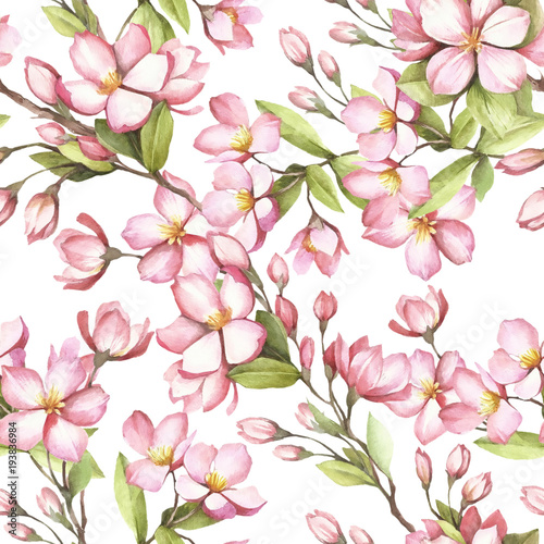Cotton fabric Seamless pattern with cherry blossoms. Watercolor illustration.