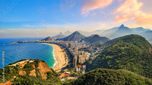Photo sur Toile Plage Copacabana Beach and Ipanema beach in Rio de Janeiro, Brazil