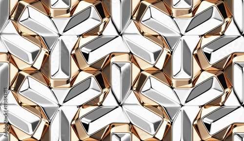 3d-wallpaper-of-gold-and-silver-metal-material-tiles-luxury-geometry-pattern-high-quality-seamless-realistic-texture