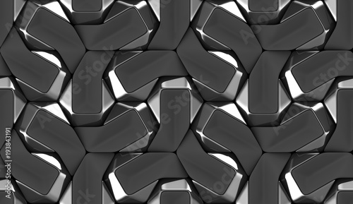 3D seamless wallpaper of black tiles elements with textile decor elements. High quality seamless realistic texture.