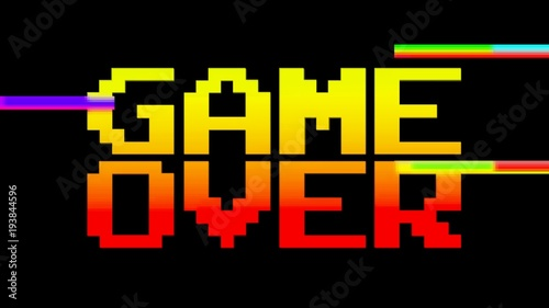 Fotografija  A funky colorful game over screen, 8 bit retro style, red and yellow, with a little damage (digital glitches)