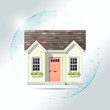 Property insurance concept with small house protected in polygonal sphere shield , vector , illustration