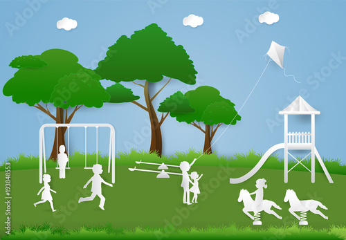 Deurstickers Groene Children having fun playing at playground, Paper art background paper cut illustration