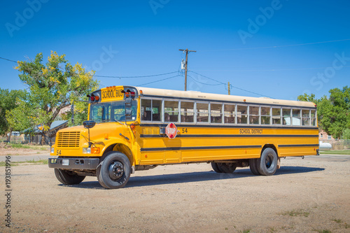 Traditional yellow school bus in North America Wallpaper Mural