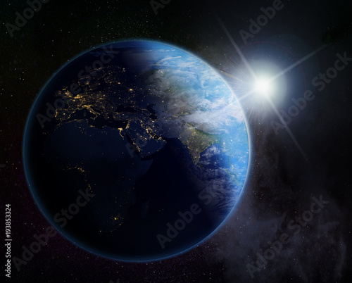 In de dag Ochtendgloren vision of sunrise over the Earth ,Europe, Asia and Africa- Elements of this image furnished by NASA