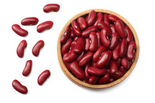 Red Kidney Beans In Wooden Bowl Isolated On White Background. Top View
