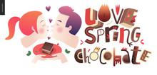 Love Spring Chocolate Slogan -...