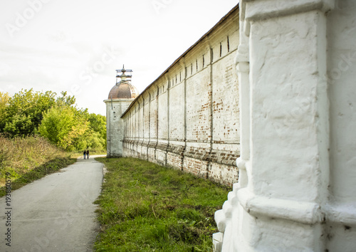 Photo  Fortress wall of the ancient Sven monastery in Russia, in Bryansk