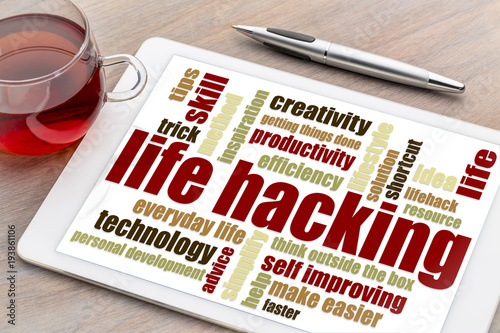 Fototapety, obrazy: life hacking word cloud on tablet