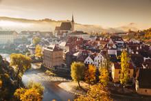 Historic Town Of Cesky Krumlov At Sunrise, Bohemia, Czech Republic