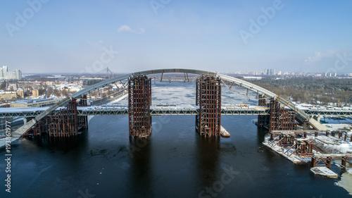 Fotobehang Kiev Rusty unfinished bridge in Kiev, Ukraine. Combined car and subway bridge under construction.