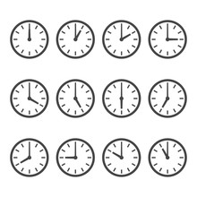 Set Of Wall Clocks For Every H...