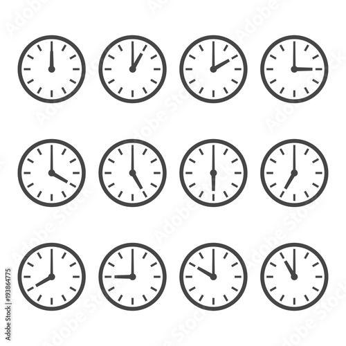 Tablou Canvas Set of wall clocks for every hour
