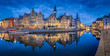 canvas print picture - Twilight panorama of the city of Gent, Flanders, Belgium