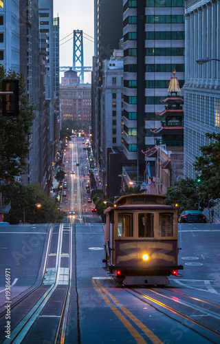 San Francisco Cable Car on California Street in twilight, California, USA
