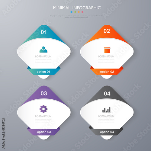 Stampe  infographic  template desgin the concept is option step paln with  full color ic