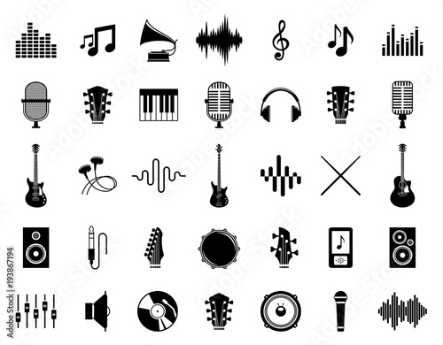 Plakaty atrybuty muzyczne  set-of-vector-music-icons-isolated-on-white
