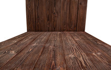 Brown Wooden Background For Photo Shooting. Isolated.