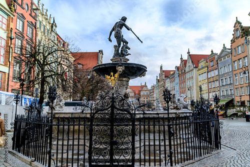 Old sculpture of Neptune Gdansk Poland Canvas-taulu