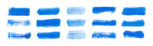 Set Blue Rectangle Watercolor Texture On The White Background, Vector Ink, Acrylic Decoration.