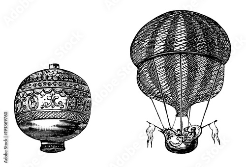 victorian engraving of Montgolfier balloon