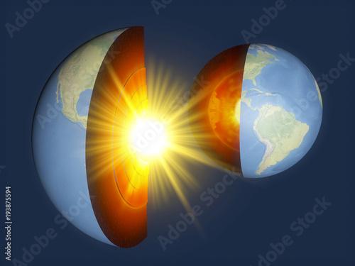 Struttura della Terra, divisione in strati, crosta terrestre e nucleo Canvas Print