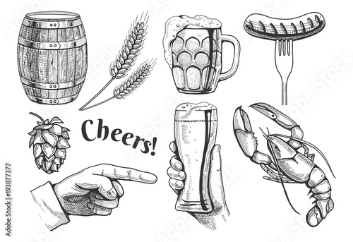 beer related objects icons Wallpaper Mural