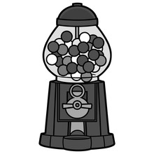Gumball Machine Illustration - A Vector Cartoon Illustration Of A Grocery Store Gumball Machine.