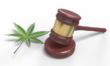 Gavel And Cannabis Leaf Isolat...
