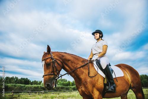 Poster Equitation Girl jockey riding a horse