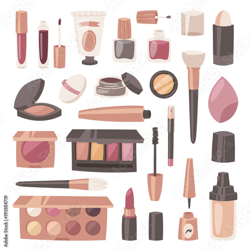 Cosmetic vector beauty make up cosmetology for beautiful woman with makeup found Fototapet