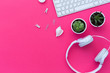 canvas print picture - Flat Lay of creative desktop, keyboard, succulent and headphones. Mock up, flat lay, pastel background