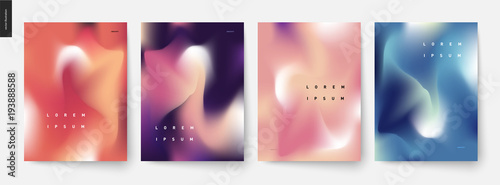 Fototapeta Abstract background posters set - wavy liquid shapes for branding style, covers