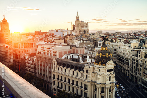 Poster Madrid Cityscape of Madrid at sunset, with Gran Vía street