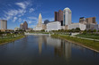 Columbus, Ohio was built along the Scioto River in the downtown district. The Scioto Mile includes a path for recreation in this urban riverfront setting.