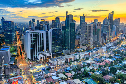 Eleveted, night view of Makati, the business district of Metro Manila, Philippin Canvas Print