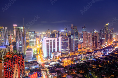 Eleveted, night view of Makati, the business district of Metro Manila Canvas Print