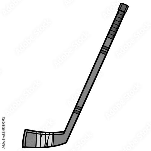 Hockey Stick Illustration - A vector cartoon illustration of a Hockey Stick icon Wallpaper Mural