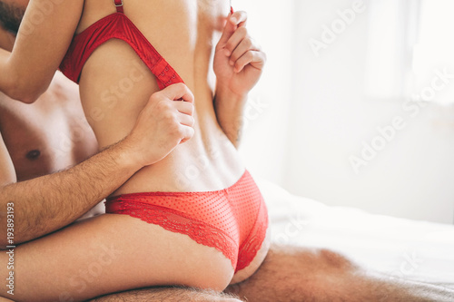 Beautiful Passionate Young Couple Having Sex On The Bed At Home Intimate And Sensual Moments Of A Couple Making Love In The Bedroom Sexual And Erotic