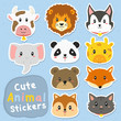 cute and funny animals stickers vector set. printable cute animals stickers template cartoon vector.