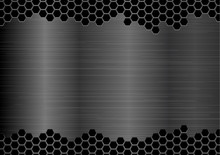 Abstract Silver Metal Plate Hexagon Texture Background