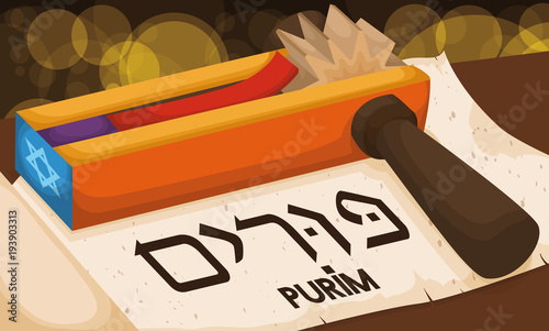 Scroll with Colorful Gragger Ready for Reading in Purim Celebration, Vector Illu Canvas Print