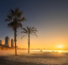 Dramatic Sunrset On Beach Of B...