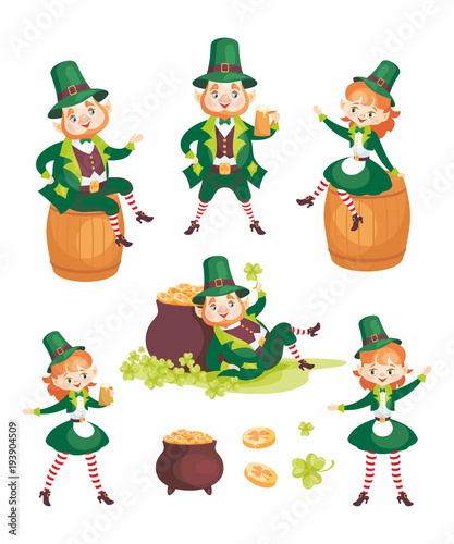 Images of a leprechauns in cartoon style. Saint Patrick's ...