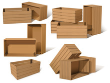 Set Of Empty Wooden Boxes