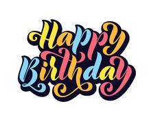 Happy Birthday. Hand Drawn Let...