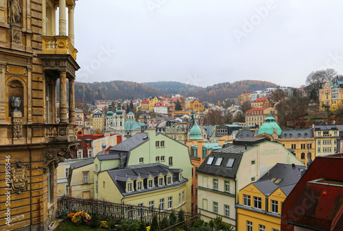Cityscape of Karlovy Vary in autumn time, Czech Republic Poster