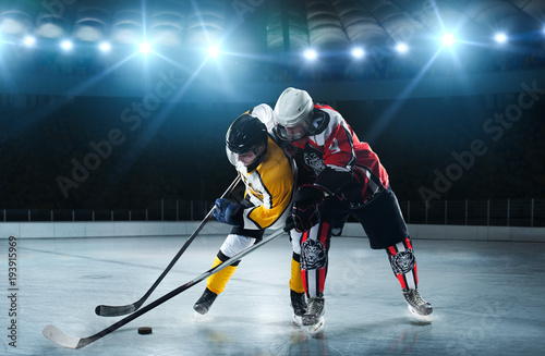 Ice hockey players on the grand ice arena Wallpaper Mural