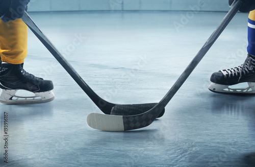 Ice hockey players on the grand ice arena Canvas Print